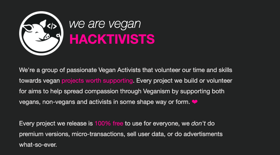 Vegan Hacktivists Homepage